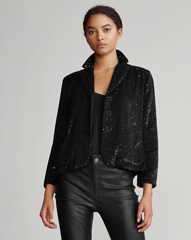 Blazer court à sequins