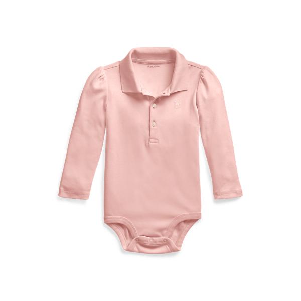 폴로 랄프로렌 베이비 아기옷 우주복  Polo Ralph Lauren Cotton Interlock Polo Bodysuit,Adirondack Rose