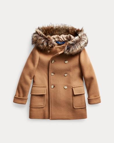 Manteau en laine et fausse fourrure