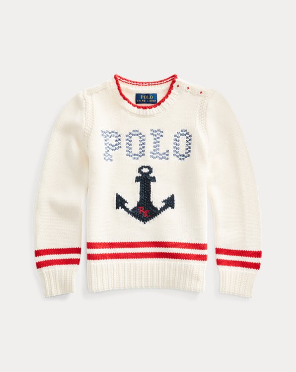 Intarsia-Anchor Cotton Jumper