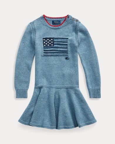 Intarsia-Flag Cotton Dress