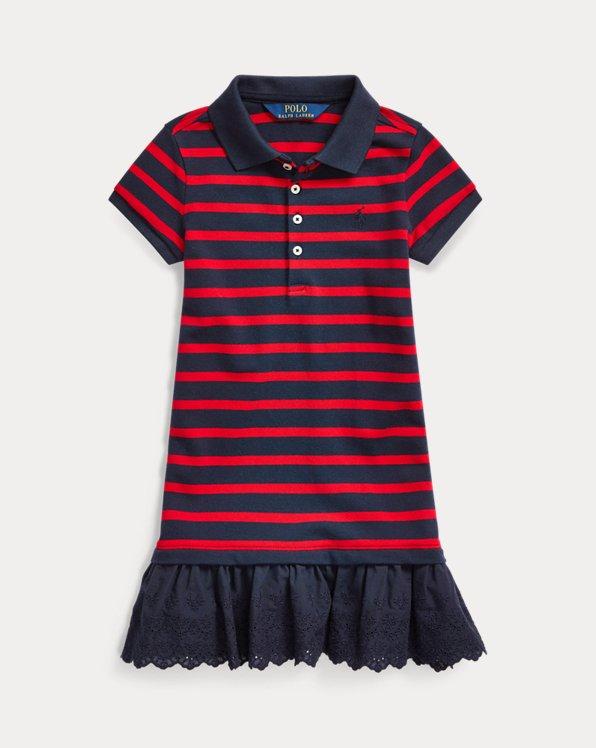 Eyelet Stretch Mesh Polo Dress