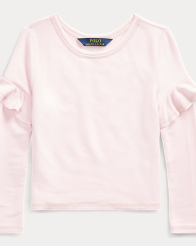 Ruffled-Trim French Terry Top