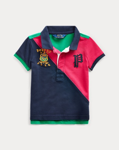 Colour-Blocked Mesh Polo Shirt
