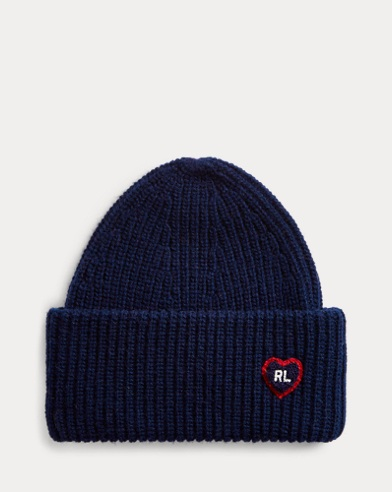 Heart-Patch Knit Hat