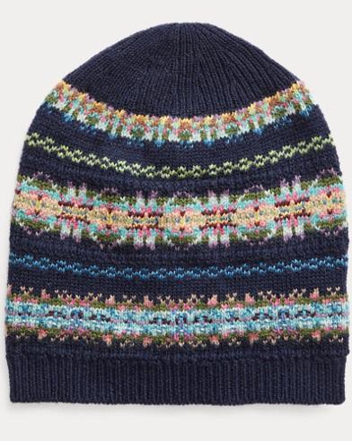 Gorro Polo de intarsia de mezcla de lana