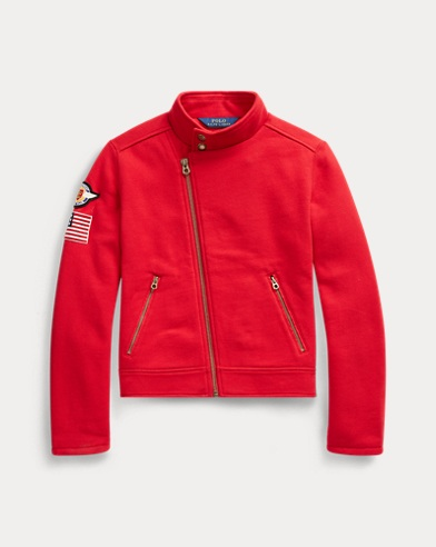 Knit Cotton-Blend Moto Jacket