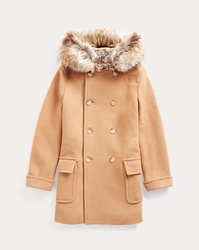 Mantel aus Wollmischung mit Kunstpelz