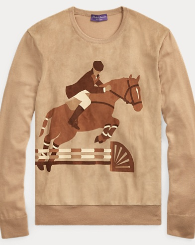 Suede-Cashmere Graphic Sweater