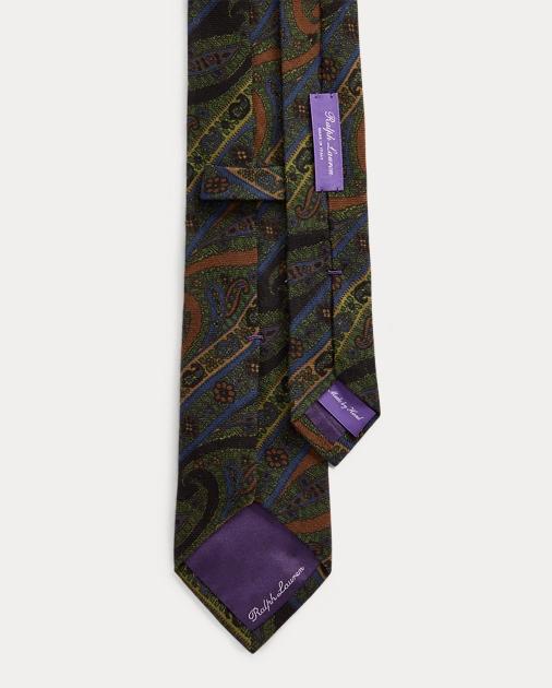 Purple Label Cravate paisley cachemire et soie 2