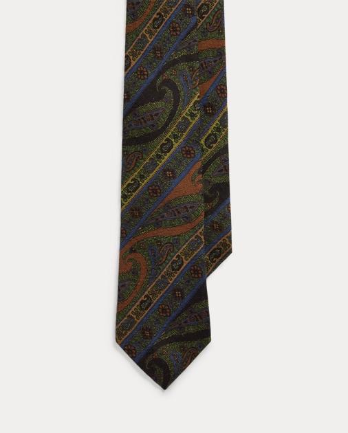 Purple Label Cravate paisley cachemire et soie 1