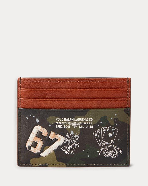 Porte-cartes camouflage en cuir