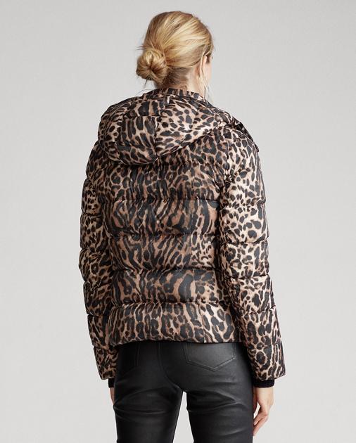 Doudoune duvet Ralph Lauren avec col léopard