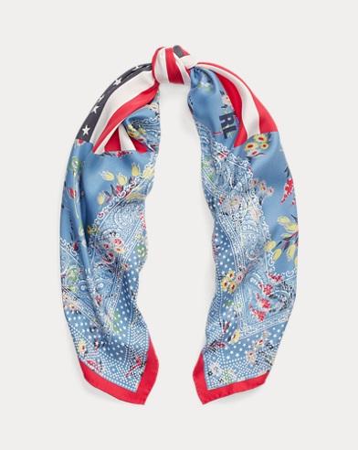 Bufanda bandana de seda con estampado floral