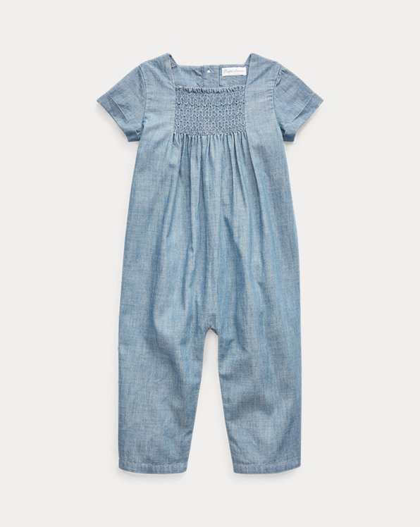Chambray Smocked Coverall