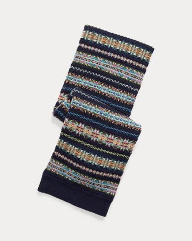 Écharpe tricot intarsia en laine mélangée