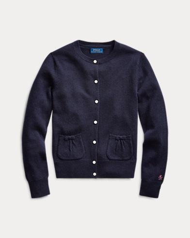 Bow-Pocket Wool Cardigan