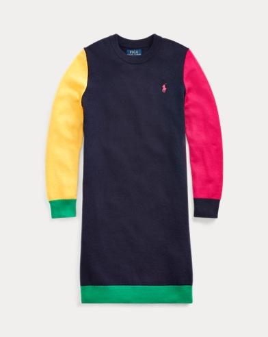 Colour-Blocked Wool-Blend Dress