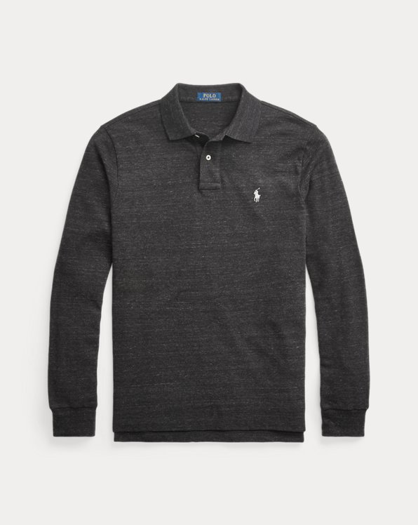 Slim Fit Mesh Long-Sleeve Polo Shirt