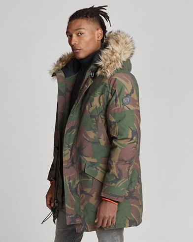 Faux-Fur-Trim Camo Down Parka