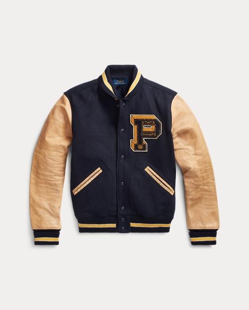 Wool Blend Letterman Jacket