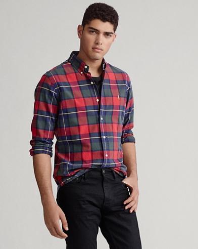 Kariertes Custom-Fit Oxfordhemd