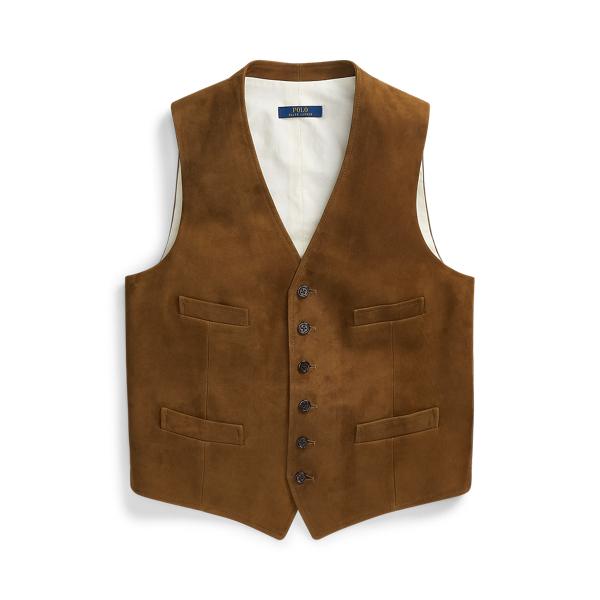 Ralph Lauren Suede Vest In Brown