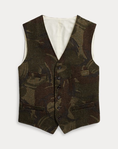 Camo Wool Herringbone Vest