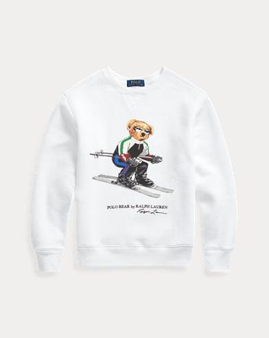Fleece-Sweatshirt mit Ski Bear