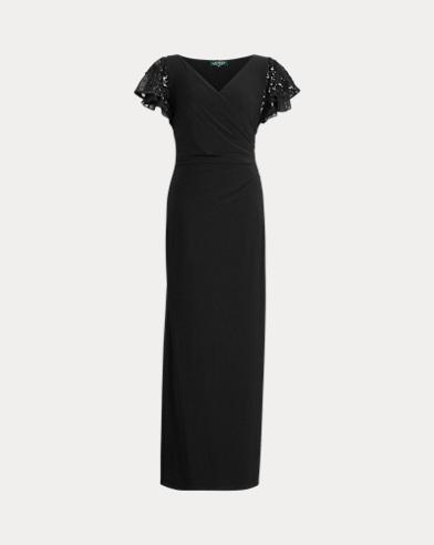 Ruffle-Cap-Sleeve Jersey Gown