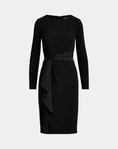 Satin-Trim Long-Sleeve Dress