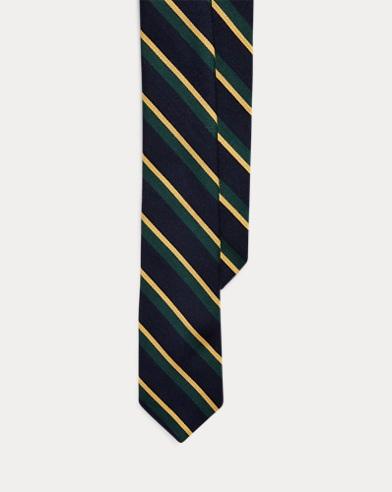 Striped Wool-Silk Narrow Tie