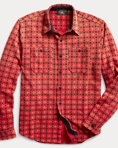 Plaid-Print Knit Workshirt