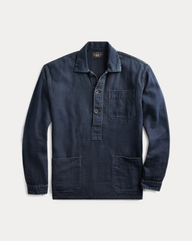 Linen-Cotton Popover Workshirt