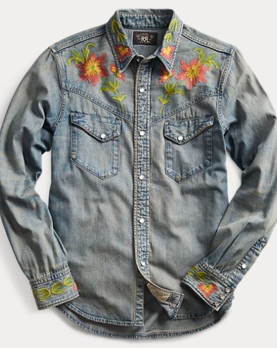 Slim Fit Denim Western Shirt