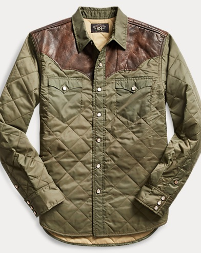 Leather-Yoke Western Overshirt