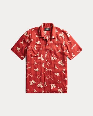 Western-Print Camp Shirt
