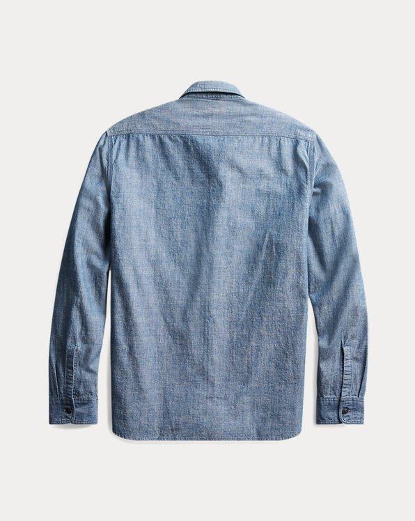 New $195 Polo Ralph Lauren DOUBLE RL RRL Men/'s Striped Cotton Work Shirt