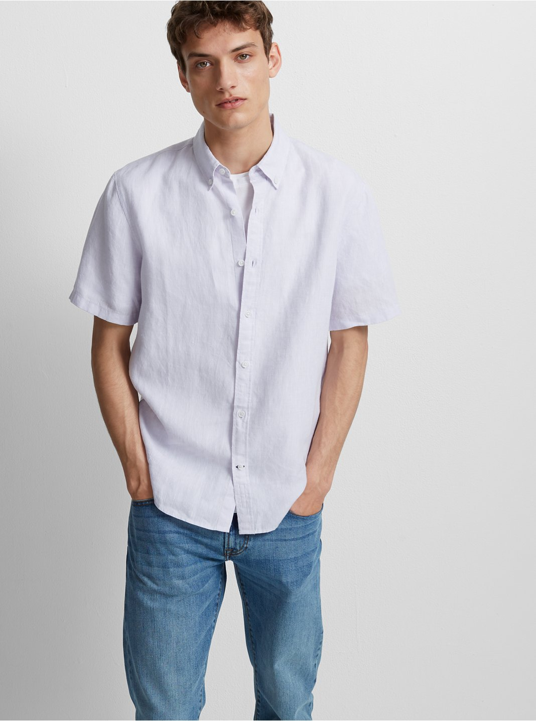 Slim Cross Dye Linen Shirt