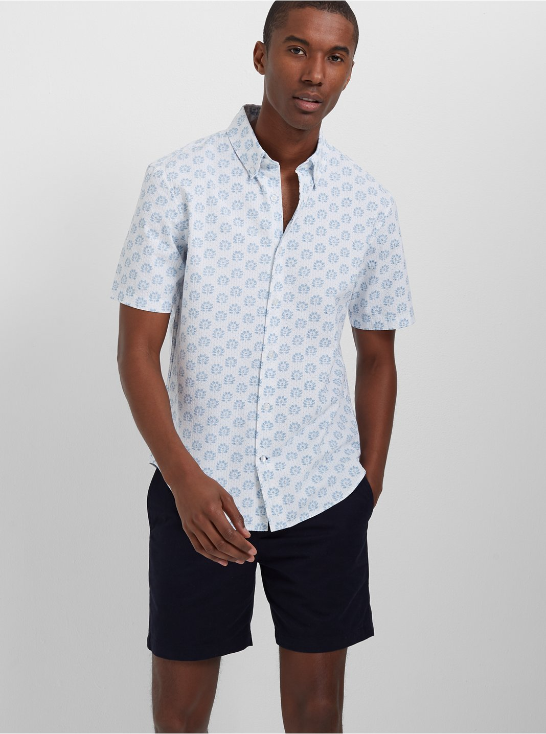 Slim Seersucker Floral Shirt