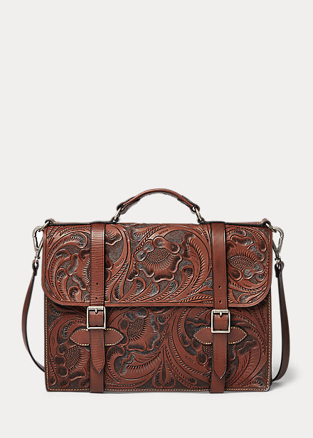 Polo Ralph Lauren Hand Tooled Leather Briefcase