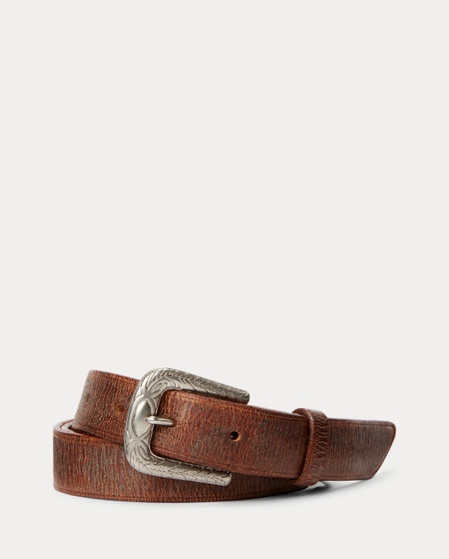 Tumbled Leather Belt by Ralph Lauren