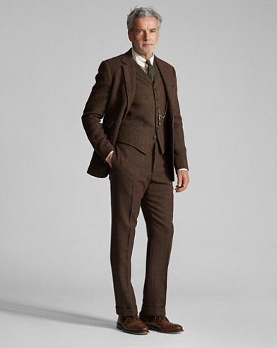 Brown Herringbone 3 Piece Suit