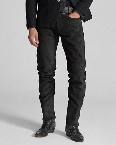 Slim Fit Studded Suede Pant