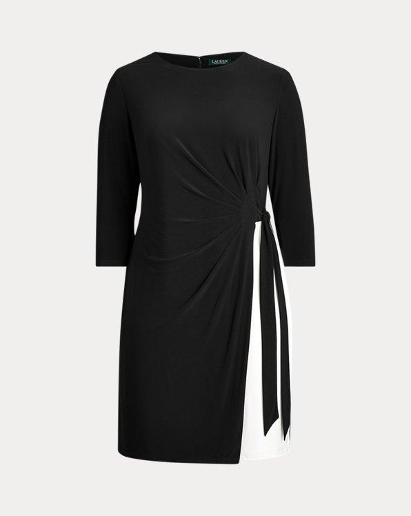Robe plissée en jersey à deux tons