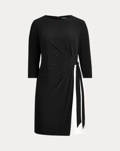 Two-Tone Pleated Jersey Dress