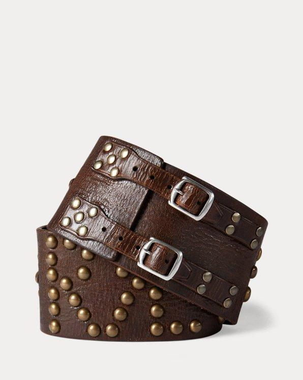 Studded Leather Wide Belt