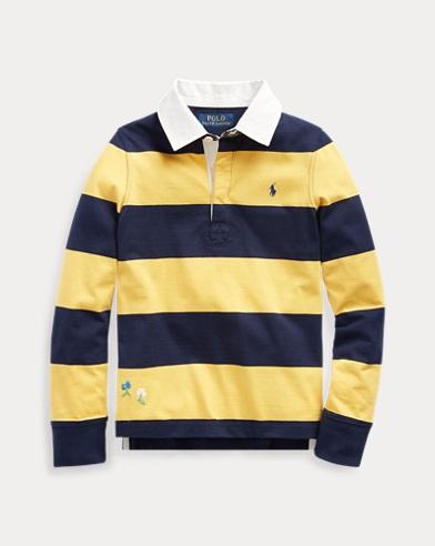 Camiseta de rugby de algodón bordada