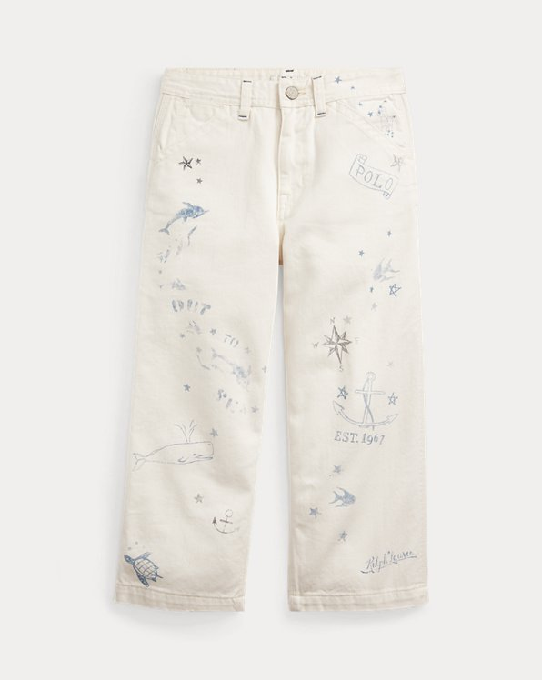 Nautical Wide-Leg Cotton Jean