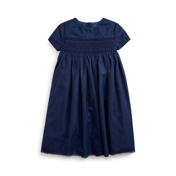 폴로 랄프로렌 여아용 원피스 Polo Ralph Lauren Embroidered Tulle A-Line Dress,French Navy